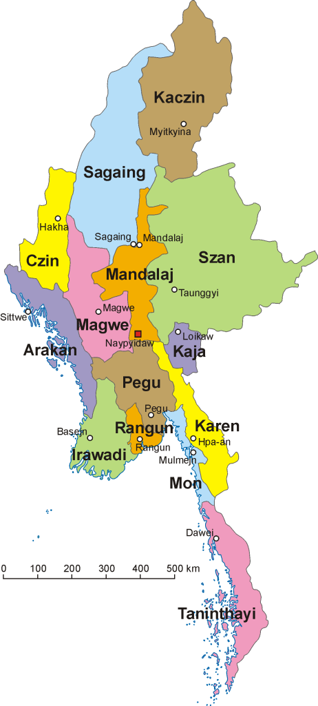 An administrative map of Burma with the Karen region in yellow.